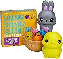 Slow Rising EASTER BUNNY & FRIENDS JUMBO SQUISHIES PACK in GIFT WORTHY BOX: Bunny, Chick, & Easter Basket Kawaii Soft Squishy Toys & BONUS Stickers Come With the Squishys! ...