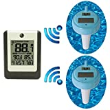 Ambient Weather WS-14-X2 Wireless 8-Channel Floating Pool Spa Thermometer Two Remote Sensors