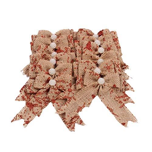 12pcs Burlap Bows Xmas Tree Ornament Tree Hangs Holiday Bow for Xmas,Weddings, Interior Decoration, Outdoor Decoration (Red Glitter)