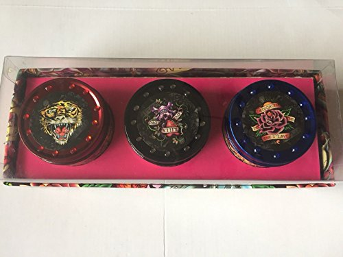 ED HARDY CANDLE 3 TIN Pack Candle Vegetable WAX/SET of 3PC /Purple Group
