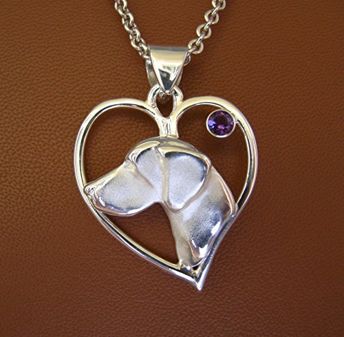 Large Sterling Silver German Short-haired Pointer Head Study On A Heart Frame With A Amethyst Accent - German Pointer Jewelry Shorthaired
