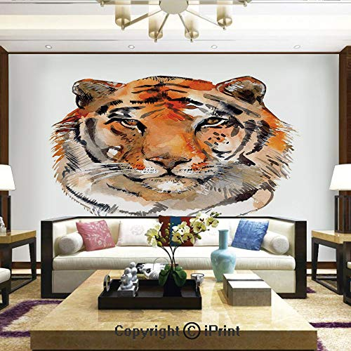 (Lionpapa_mural Removable Wall Mural   Self-Adhesive Large Wallpaper,Feline Animal with Calming Stare Hand Drawn Watercolor Art Exotic Wildcat Hunter,Home Decor - 100x144 inches)