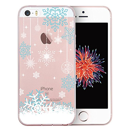 iPhone SE Case, SwiftBox Cute Cartoon Clear Case for iPhone 5 5S SE (Snowflakes)