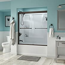 "Delta Shower Doors SD3276642 Linden 60"" Semi-Frameless Traditional Sliding Bathtub Door in Bronze with Clear Glass"