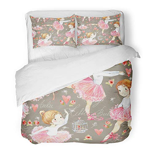 Emvency Decor Duvet Cover Set Full/Queen Size Pink Cartoon Ballerina with Cute Girl White Watercolor Baby Ballet Beautiful Beauty Child Classic 3 Piece Microfiber Fabric Print Bedding Set Cover ()