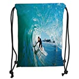 Custom Printed Drawstring Sack Backpacks Bags,Wave,Extreme Sportsman Surfer Inside Barreled Wave Fun Action Holiday Vacation,Turquoise Light Blue Soft Satin,5 Liter Capacity,Adjustable String Closure,