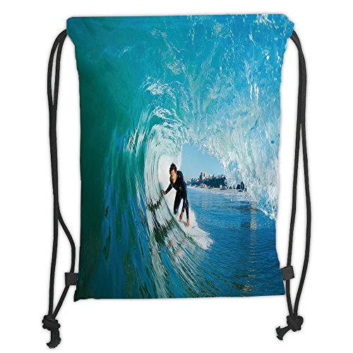 Custom Printed Drawstring Sack Backpacks Bags,Wave,Extreme Sportsman Surfer Inside Barreled Wave Fun Action Holiday Vacation,Turquoise Light Blue Soft Satin,5 Liter Capacity,Adjustable String Closure, by iPrint