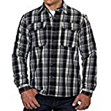 Boston Traders Men's Flannel Jacket Shirt with Fleece Lining- Black White-XL