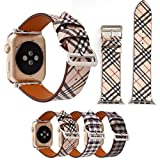 TCSHOW For Apple Watch Band Series 3 38mm - 38mm Tartan Plaid Style Replacement Strap Wrist Band with Silver Metal Adapter for Apple Watch Series 3 2 1