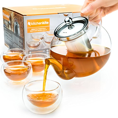 Stovetop Safe Tea Kettle, Holds 4-6 Cups, Glass Teapot with Infuser Set, Extra 4 Double Wall 80ml Cups, Removable Stainless Steel Strainer, Microwave, Dishwasher Safe, Blooming & Loose Leaf Tea Pot (Dish Leaf Glass)