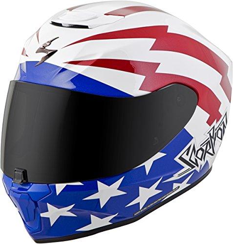 Scorpion EXO-R420 Helmet - Tracker (LARGE) (WHITE/RED/BLUE)
