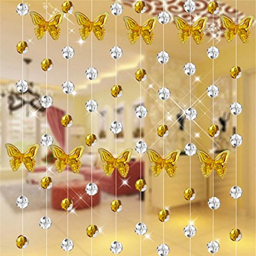5 Strand of Beads with Butterfly Design, DIY Luxury Crystal Glass Bead Curtain Home Decor Decorations for Living Room Bedroom Windows Doorway Ornament Wedding Party Supply (Yellow) (Beading Curtain)