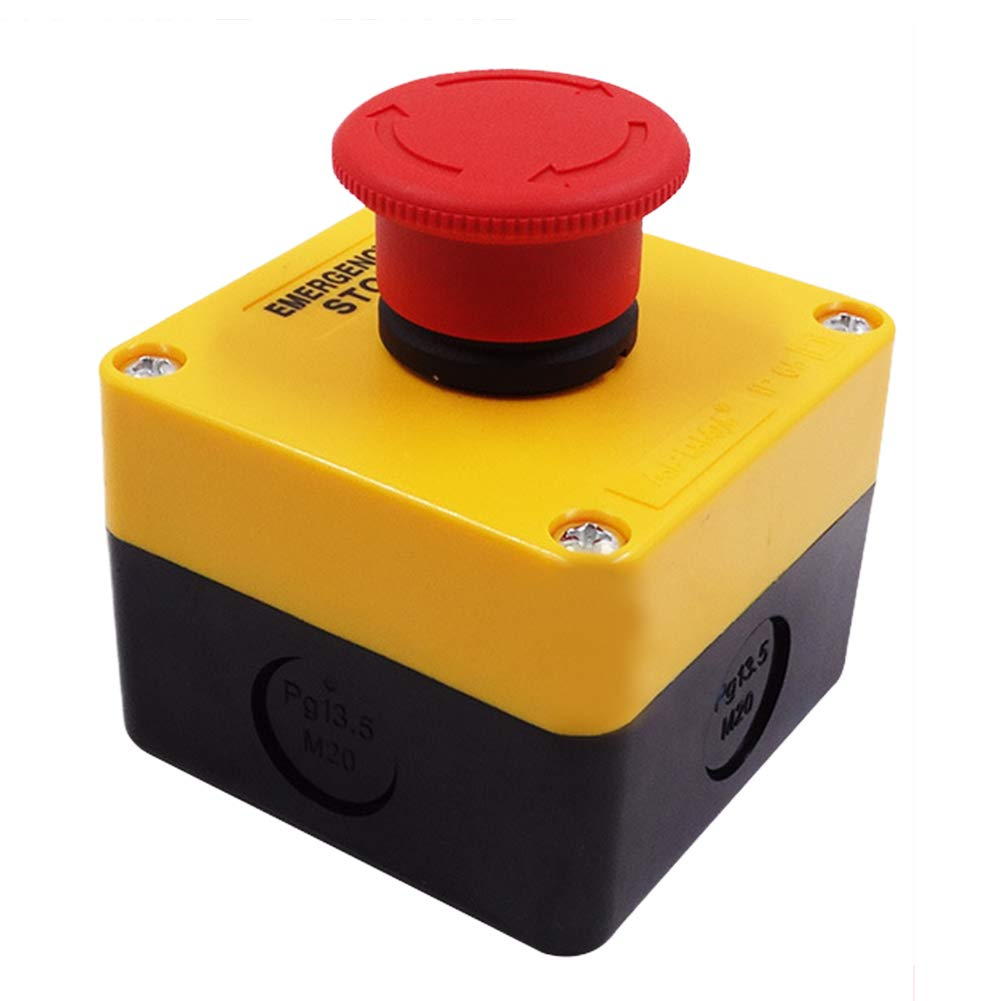 Yellow difcuyg5Ozw 220v Mushroom Emergency Stop Push Button Switch Widely Used Electronic Safety Equipment Easy Instal