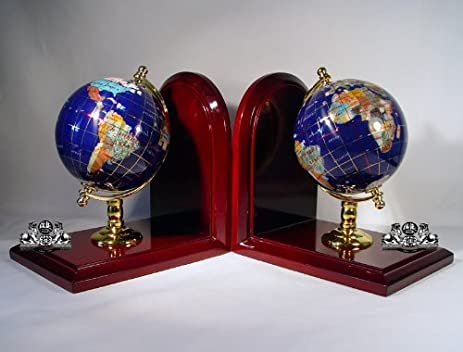 Amazon 7 tall pair of gem jewel gemstone world map globe 7quot tall pair of gem jewel gemstone world map globe globes bookend bookends gumiabroncs Image collections