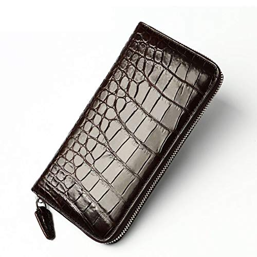 (2019 Classical Designer Genuine Crocodile Skin Alligator Leather Men's Long Card Holder Wallet Male Large Purse,Brown)