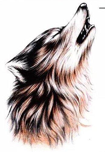 NuoYa001 amovible étanche Lone Wolf hurlement mois Arm autocollant de tatouage Body Art Stickers