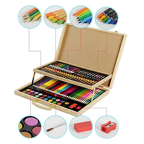 KIDDYCOLOR Wood Art Drawing Set for Kids in Wooden Case,Painting, Good for Gifts108 pcs
