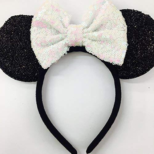 Iridescent Minnie Ears, White Mickey Ears, Wedding White Minnie Ears, Sparkly Mouse Ears, Bride Ears ()