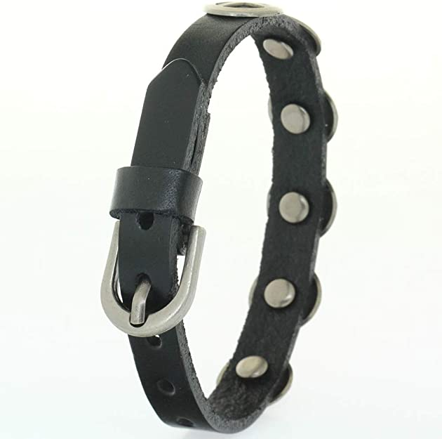 1 1//2 Snap On Riveted Chritian Religious Cross and Circle Studded Leather Belt