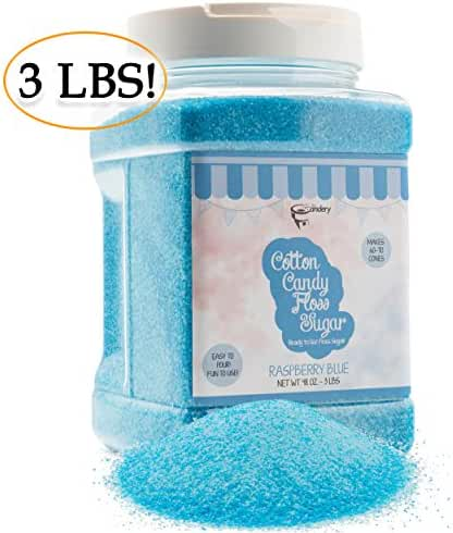The Candery Cotton Candy Floss Sugar Raspberry Blue- Reusable Plastic Jars - Easy Pour and Scoop Spout - 48oz 3LB