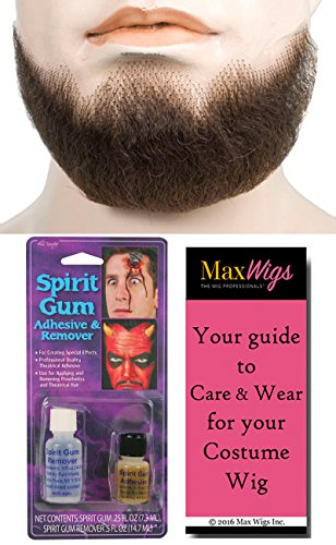 Theatrical Beards (Bundle 3 items: 5 Point Goatee Men's Beard Human Hair Lace Backed Hand-Made Fake Facial Lacey Wigs Color Light Brown Grey, Spirit Gum with Remover, MaxWigs Costume Wig Care Guide)