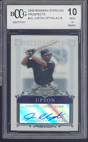 2006 Card Bowman Rookie Sterling (2006 bowman sterling prospects #ju JUSTIN UPTON autograph rookie BGS BCCG 10 Graded Card)