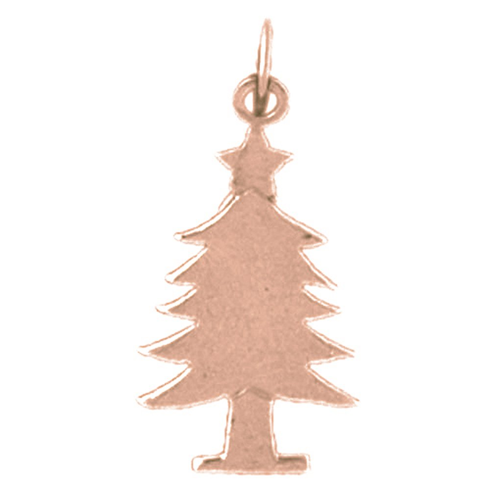 14K Rose Gold-plated 925 Silver Christmas Tree Pendant with 16 Necklace Jewels Obsession Christmas Tree Necklace