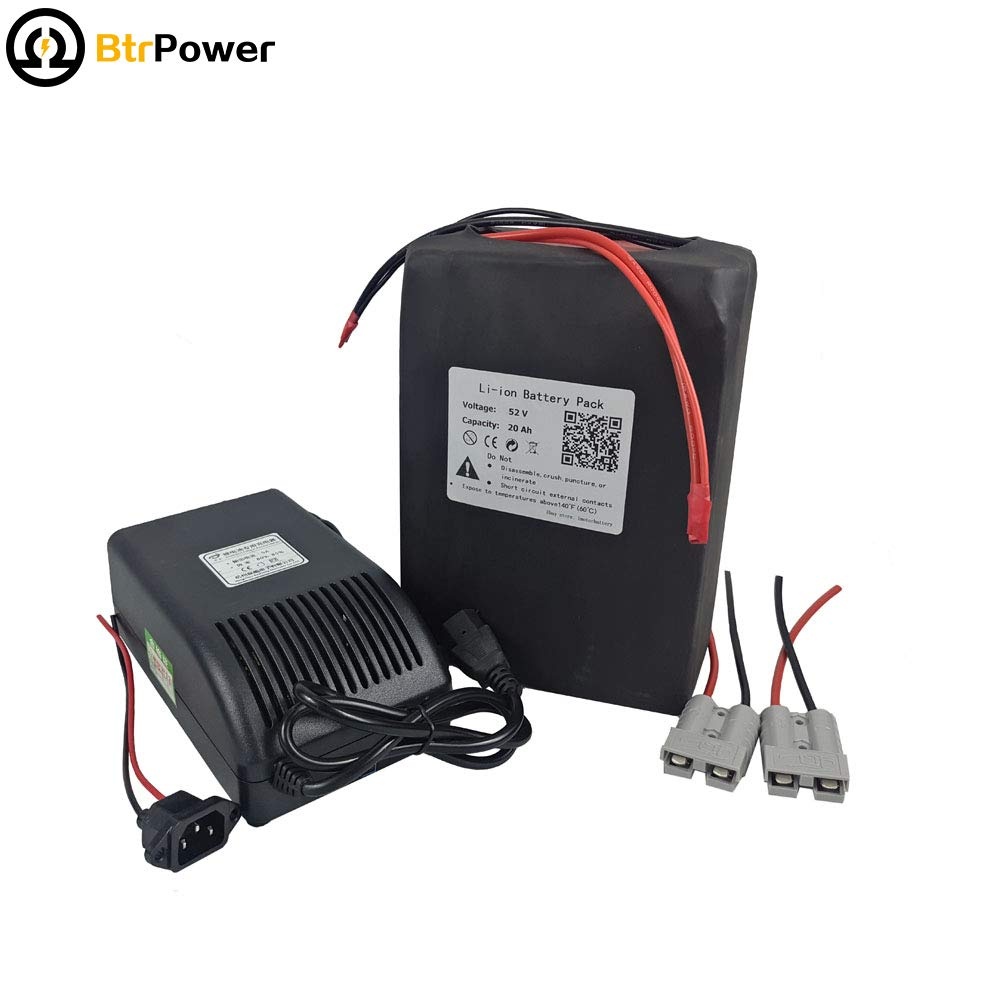 52V 20Ah Ebike Battery Lithium ion Battery Pack Power with 5A Charger + 50A BMS for 1000W Electric Bike Scooter