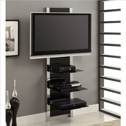 AltraMount Modern TV Stand with Glass & Chrome Accents