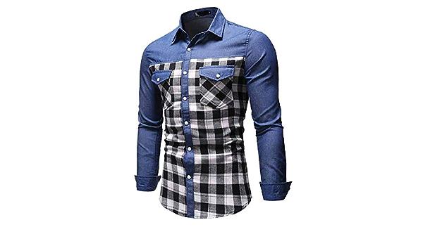whcct Camisa Casual Camisa de Hombre de poliéster de Estilo ...
