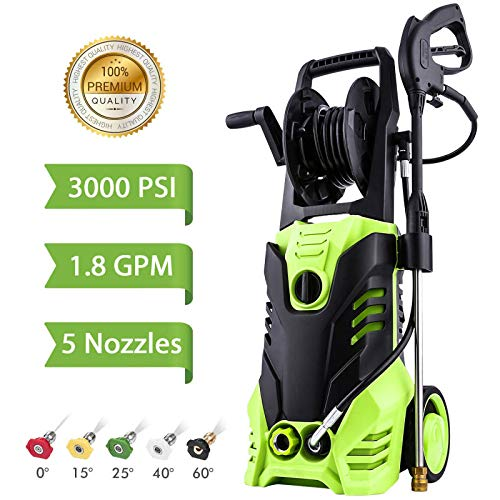 Homdox Electric Pressure Washer, 3000 PSI High Power Washer, Professional Washer Cleaner Machine with 5 Interchangeable Nozzles, 1800W Rolling Wheels,1.80 GPM ()