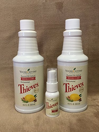 Thieves Bundle Household Cleaner 2 pk 14.4 oz bottle and Theives Spray 1fl. oz by Young Living Essential Oils - Thieves Household Cleaner