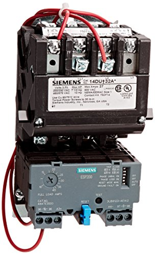 siemens 14due32ac heavy duty motor starter, solid state overload, auto/ manual reset, open type, standard width enclosure, 3 phase, 3 pole, 1 nema  size,