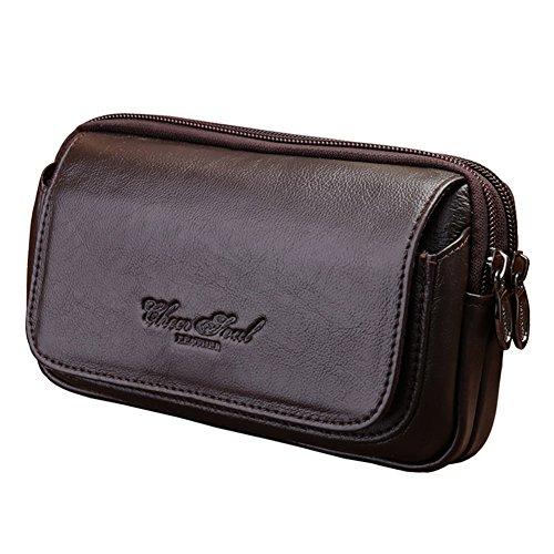 Genda 2Archer Mens Leather Belt Loops Waist Bag Wallet Phone Pouch (Coffee)