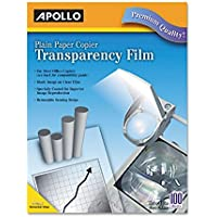 Plain Paper Transparency Film for Laser Devices, Removable Stripe, Clear, 100/BX, Sold as 2 Box, 100 Sheet per Box
