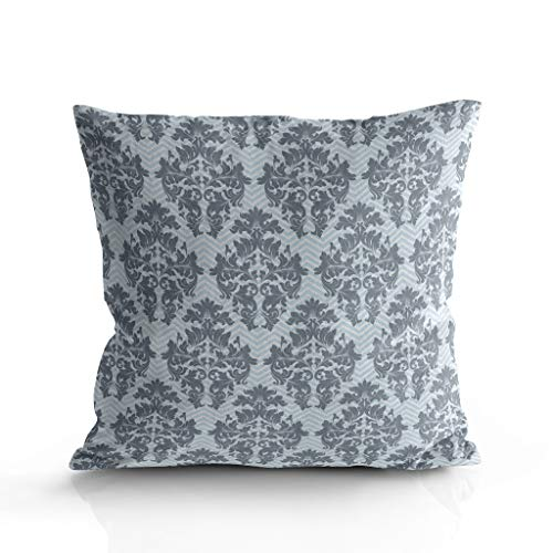 Image Duvet Cozy Square Throw Pillow Cases Covers for Couch Bed Sofa Soft Short Plush Throw Cushion Covers Pillow Sham for Naps Home Decor Grey Classical European Wallpaper Pattern 26