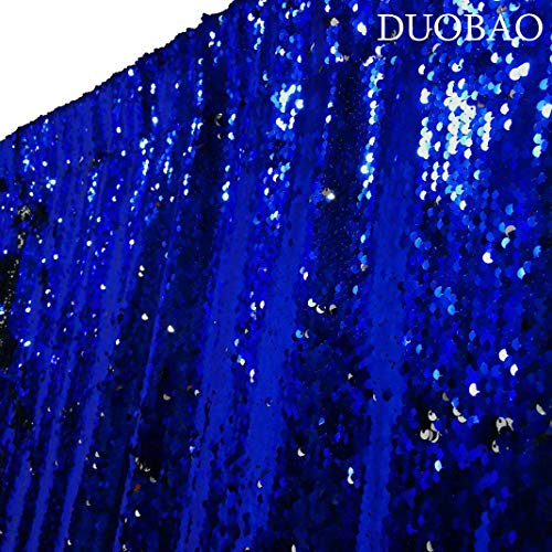 DUOBAO Sequin Curtains 2 Panels 96 Inches Silver Glitter Backdrop Curtain Royal Blue to Silver Reversible Sequin Backdrop for Photo Booth Mermaid Sequin Backdrop 4FTx8FT by DUOBAO (Image #3)