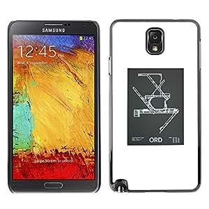 Shell-Star Art & Design plastique dur Coque de protection rigide pour Cas Case pour SAMSUNG Galaxy Note 3 III / N9000 / N9005 ( Blueprint Engineering Poster White )