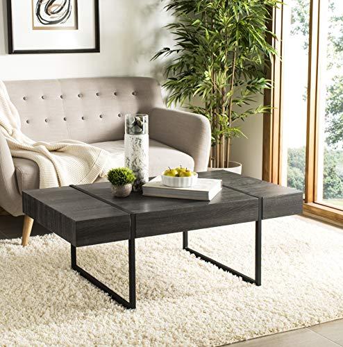Safavieh COF7000A Home Collection Tristan Black Rectangular Modern Coffee Table,