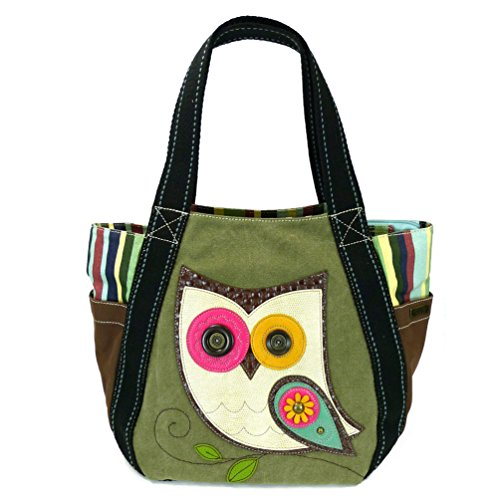 Chala Carryall Zip Tote, Canvas Handbag, Top Zipper, Animal Prints (Chala Owl - Olive Tote) -