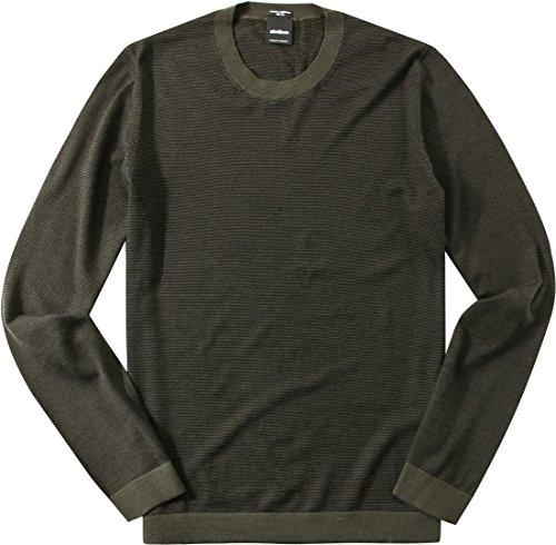 Strellson Premium Herren Pullover Rundhals Kaschmirwolle Sweater Gestreift, Größe: XXL, Farbe: Grün