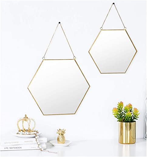 AFFOMO Hanging Wall Mirror Geometric Hexagon Small Wall Decor Gold Mirror with Chain for Home Decor Bathroom Bedroom Living Room Gold,Large