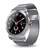 Smart Watch, K88H IP67 Waterproof Round Fitness Tracker IPS Screen Bluetooth 4.0 Heart Rate Monitor Sync Calls and Messages for iOS Android Phones (Color : Silver Steel)