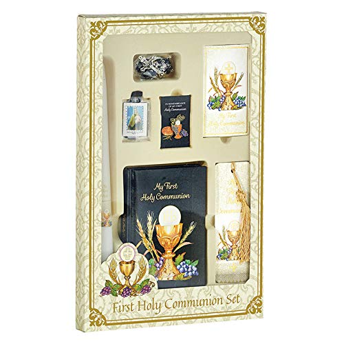 CB Catholic Boys Bread of Life First Communion Boxed Gift Set (Includes Mass Book, Rosary, Holy Card, Tassel Bookmark, Scapular,Lapel pin and Candle)