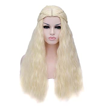 Baisheng Juego de Tronos Daenerys Targaryen Milk Golden Long Wave Curly Braid Anime Cospay Princess Style Pelucas de Pelo Completo (70cm -Oro con leche): ...