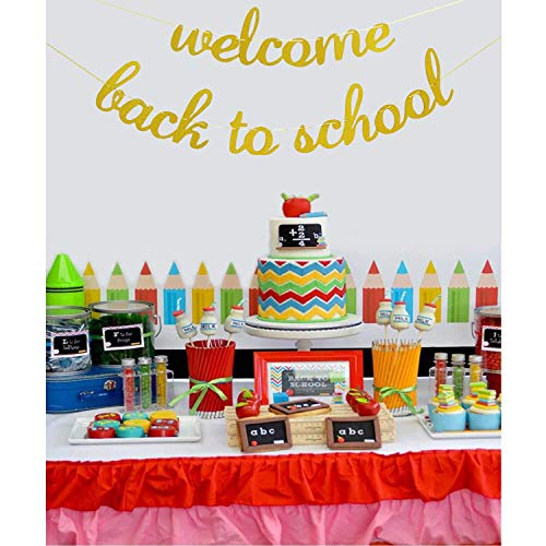 Amazoncom Welcome Back To School Banner Gold Glitter Back To