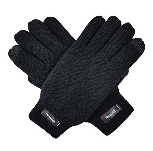 Bruceriver Men's Wool Plain Basic Style and Touchscreen style Knitted Gloves with Thinsulate Lining Size L/XL(Black Touchscreen)