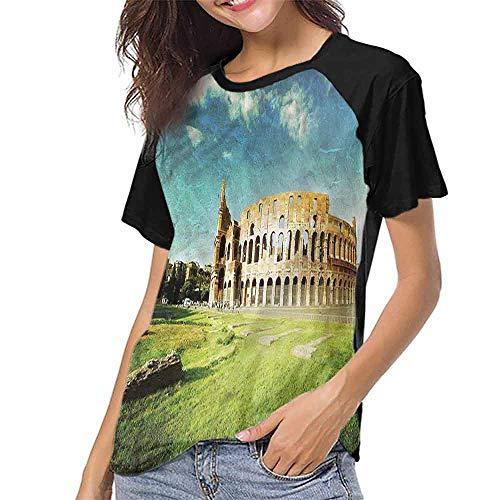 Raglan Sleeve Baseball Tshirt,Vintage,Italian Sunset Rome S-XXL Baseball Short Sleeve