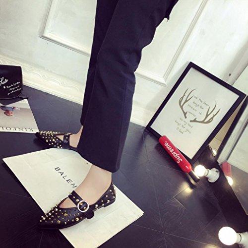 Deesee (tm) Femmes Rivets Plat Bout Pointu En Cuir Slip Sur Casual Lady Chaussures Noir