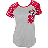 Disney Junior Fashion Contrast Shoulder Top Minnie Pocket, Gray With Red